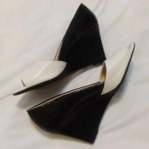 Franco Sarto Black & White Wedges, Size 8